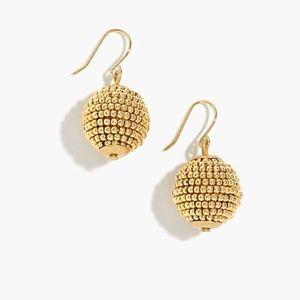 J Crew \\ Beaded Orb Gold Earrings
